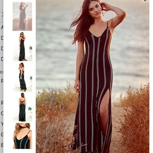 Lulu's One for the Road Black Striped Maxi Dress
